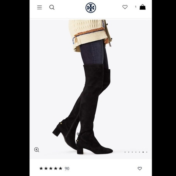 aef567b750c TORY BURCH Laila Over the Knee Black Suede Boots
